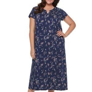 CROFT & BARROW 4X Blue Smocked Nightgown NWT  💙💙